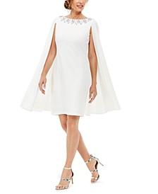 Rhinestone-Embellished Cape-Back Dress