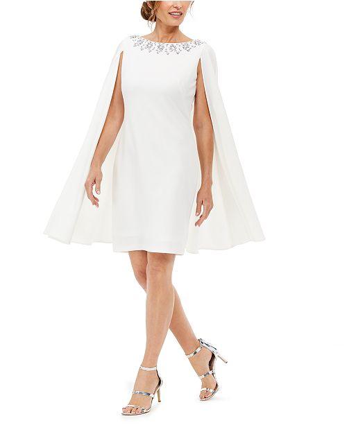 Adrianna Papell Rhinestone-Embellished Cape-Back Dress