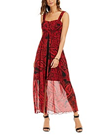 Printed Walk-Through Maxi Dress