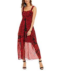 Printed Walk-Through Maxi Dress