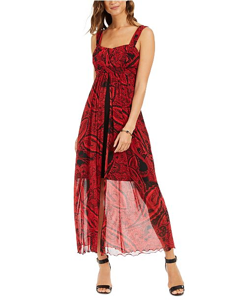 Connected Printed Walk-Through Maxi Dress
