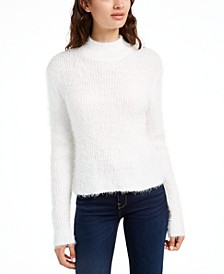 Juniors' Eyelash Mock-Neck Sweater