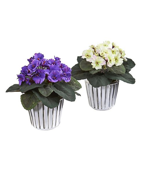 """Nearly Natural 9"""" African Violet Artificial Plant in White Vase, Set of 2"""