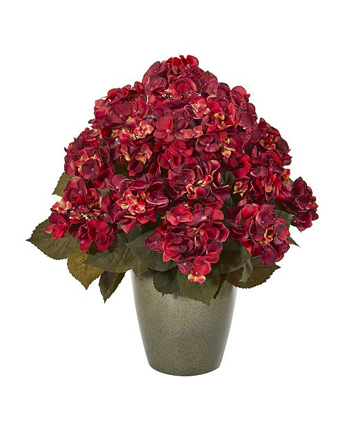 "Nearly Natural 23"" Fall Hydrangea Artificial Plant in Green Planter"