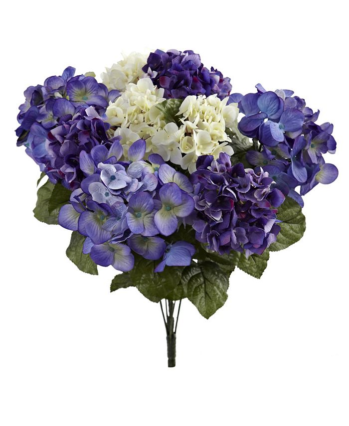 """Nearly Natural - 19"""" Hydrangea Artificial Plant, Set of 3"""