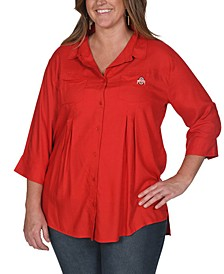 UG Apparel Women's Plus Size Ohio State Buckeyes Front Pleat Button Up Shirt