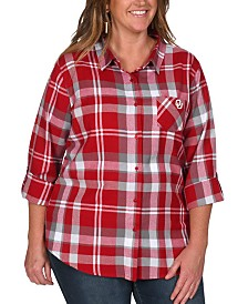 UG Apparel Women's Plus Size Oklahoma Sooners Flannel Boyfriend Plaid Button Up Shirt