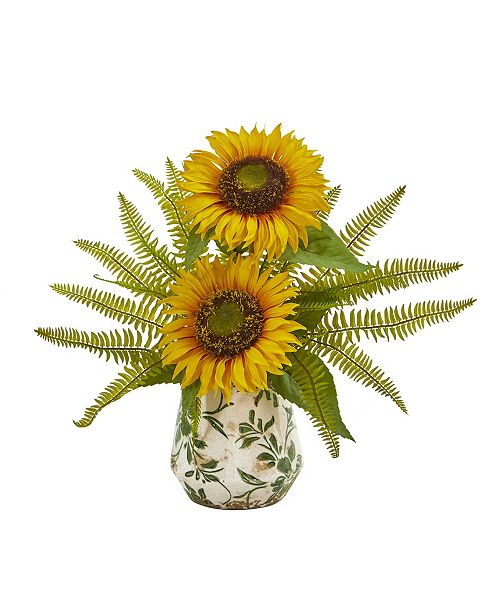 Nearly Natural Sunflower and Fern Artificial Arrangement in Vase