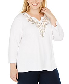 Plus Size Bright Idea Embellished 3/4-Sleeve Top