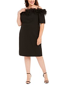 Plus Size Off-The-Shoulder Feather-Trim Sheath Dress