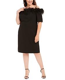 Plus Size Off-The-Shoulder Feather-Trim Sheath Dress