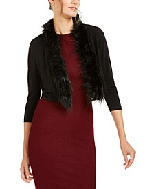 Faux-Fur-Trim Shrug