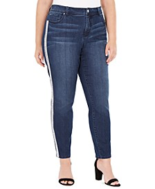 I.N.C. Plus Size Embellished-Stripe Skinny Jeans, Created For Macy's