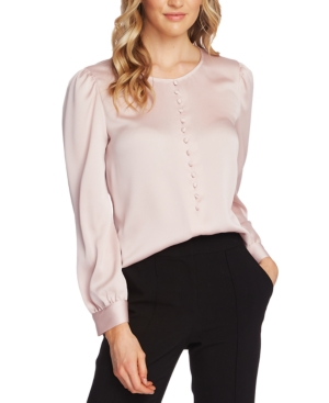 1930s Style Blouses, Shirts, Tops | Vintage Blouses Vince Camuto Puff-Sleeve Blouse $89.00 AT vintagedancer.com
