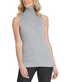 Sleeveless Mock-Neck Sweater
