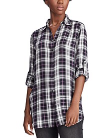 Plaid-Print Button-Down Shirt