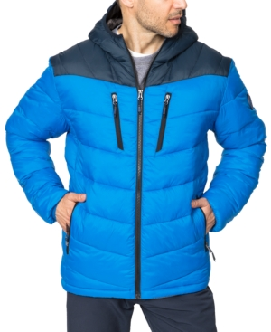 Hawke & Co. Outfitter Men's Packable Chevron Parka In Victoria Blue/hawke Navy