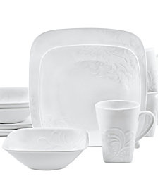 Corelle Boutique Cherish Embossed Square 16-Pc. Set Service for 4  sc 1 st  Macyu0027s : black and white square dinnerware sets - pezcame.com
