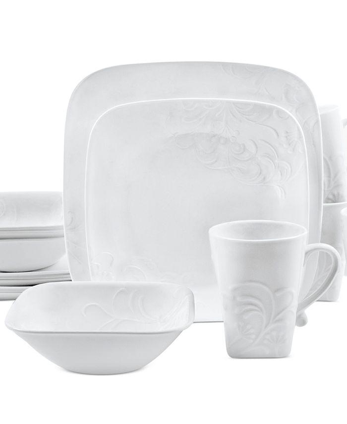 Corelle - Cherish Embossed Square 16-Piece Dinnerware Set