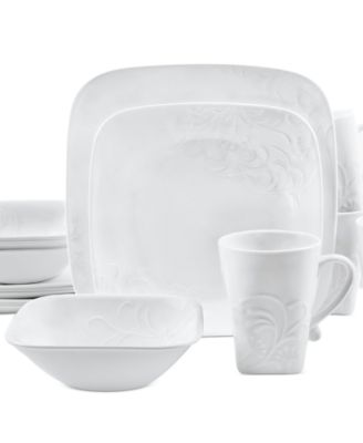 main image; main image ...  sc 1 st  Macyu0027s & Corelle Boutique Cherish Embossed Square 16-Pc. Set Service for 4 ...