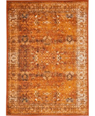 Linport Lin1 Terracotta/Ivory 5' x 8' Area Rug