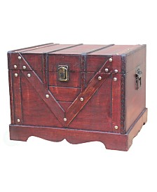 Vintiquewise Wooden Treasure Box, Old Style Treasure Chest