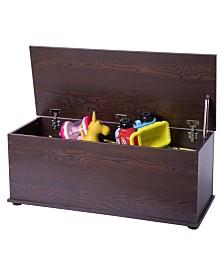Basicwise Wooden Storage Organizing Toy Box