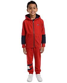 Toddler Boys Vinny Pieced Colorblocked Hoodie & Kent Logo-Print Fleece Sweatpants