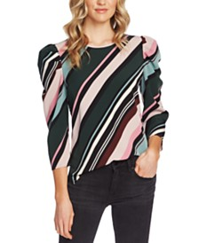 Vince Camuto Striped Puff-Shoulder Top