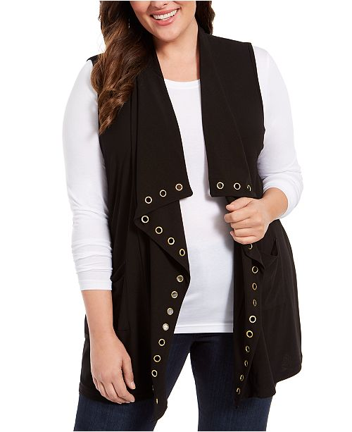 Belldini Plus Size Embellished Draped Vest