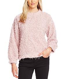 Teddy-Knit Mock-Neck Sweater