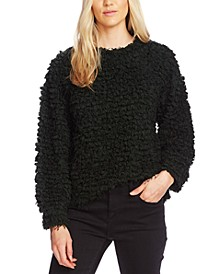Teddy-Knit Mock-Neck Sweater