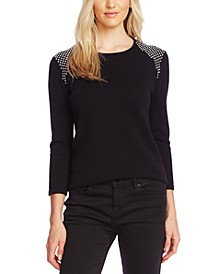 Studded 3/4-Sleeve Sweater