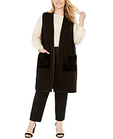 Plus Size Faux-Fur-Pocket Vest, Created for Macy's
