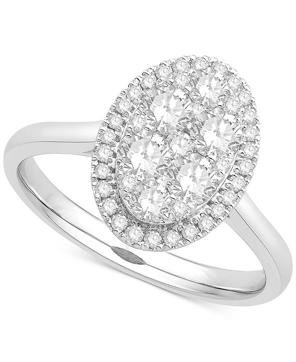 Macy's Diamond Cluster Halo Ring (1 ct. t.w.) in 14k White Gold