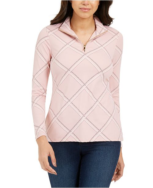 Charter Club Petite Printed Mock-Neck Top, Created For Macy's