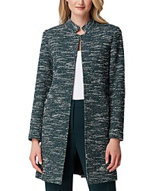 Stand-Collar Tweed Topper Jacket