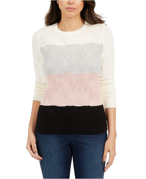 Charter Club Petite Colorblocked Textured Sweater, Created For Macy's