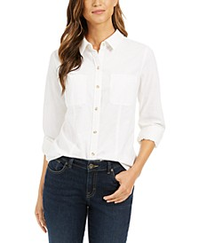 Petite Button-Down Cotton Corduroy Shirt, Created For Macy's
