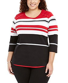 Plus Size Zahara Striped Top, Created For Macy's
