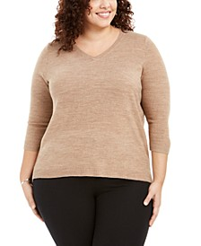 Plus Size V-Neck Luxsoft Sweater, Created for Macy's