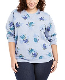Plus Size Printed Fleece Sweatshirt, Created For Macy's