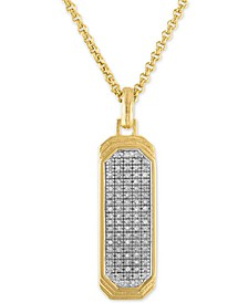 "Diamond Dog Tag 22"" Pendant Necklace (1/2 ct. t.w.) in 14k Gold Over Sterling Silver"