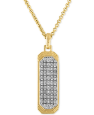 """Diamond Dog Tag 22"""" Pendant Necklace (1/2 ct. t.w.) in 14k Gold Over Sterling Silver"""
