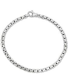 Men's Box Link Chain Bracelet in Sterling Silver