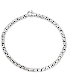 Men's Box Link Chain Bracelet in Sterling Silver