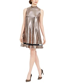 Petite Metallic Illusion Trapeze Dress