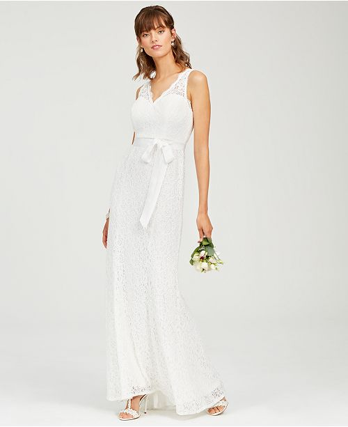 Adrianna Papell Lace V-Neck Sash Gown