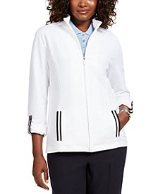 Sport French Terry  Ribbon-Trim Jacket, Created for Macy's