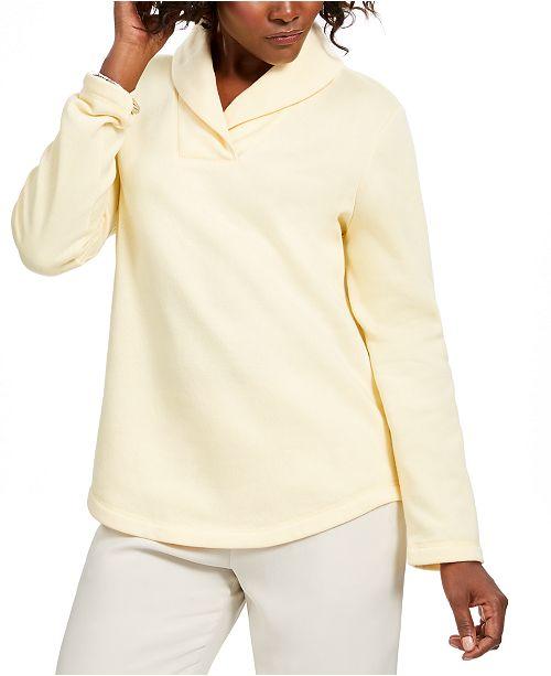 Karen Scott Shawl-Collar Fleece Pullover, Created For Macy's